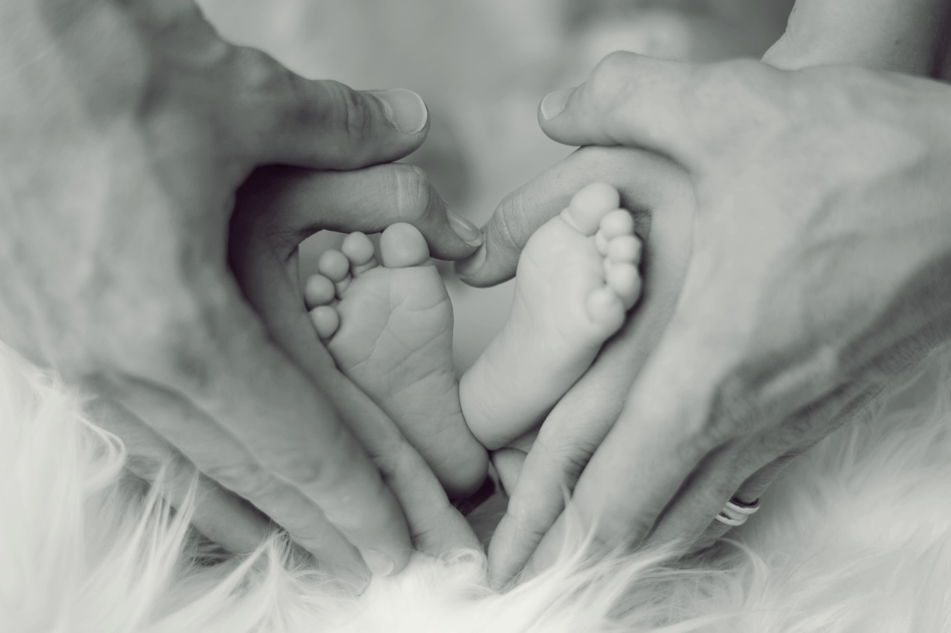 Babyfüße mit den Händen der Eltern.