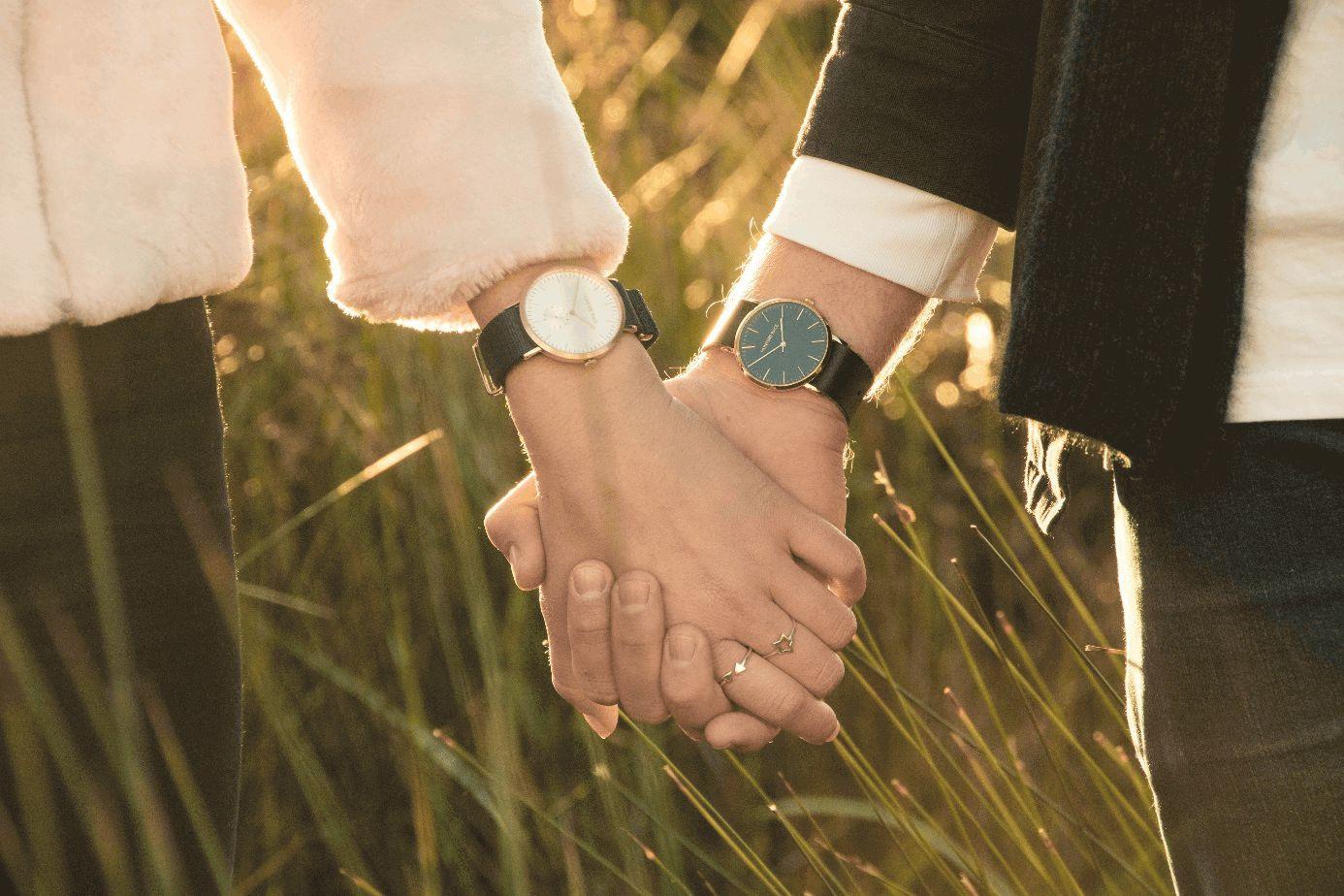 Paar vor dem Hintergrund sonnenbeschienener Gräser hält sich an den Händen.